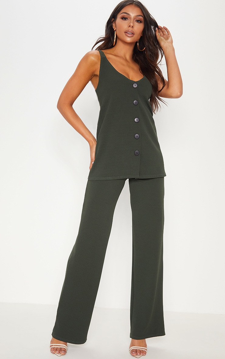 Khaki Wide Leg Trouser