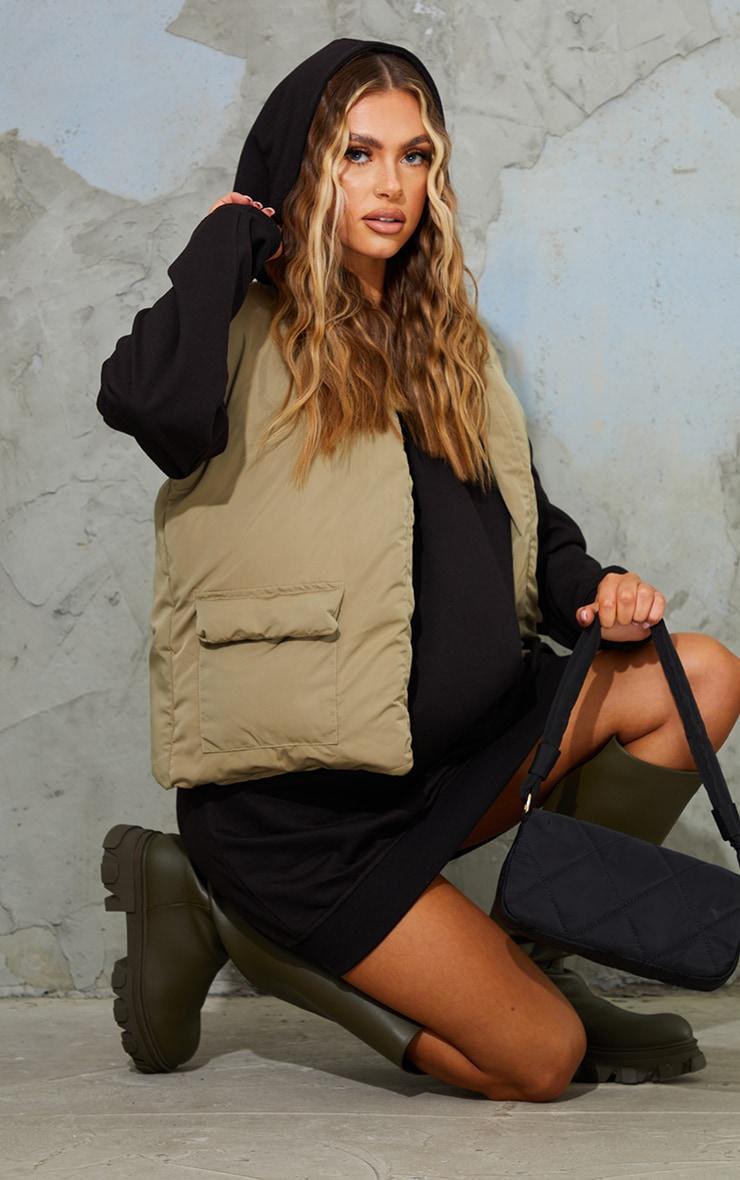 Black Oversized Hoodie Sweat Jumper Dress 3