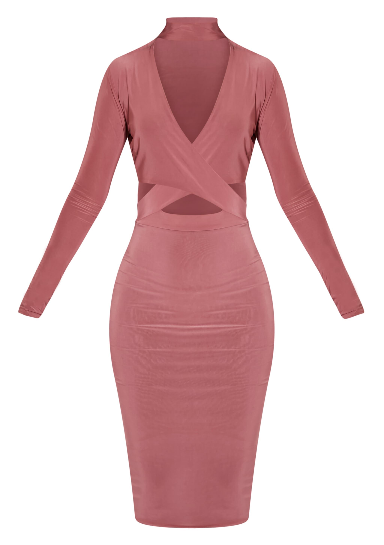 Nadeena Rose Neck Detail Cut Out Midi Dress 3