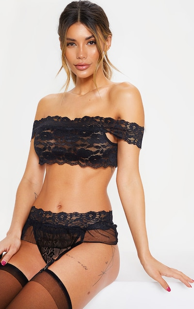ffc4322841c Black Lace Bardot And Frill Suspender Belt Set