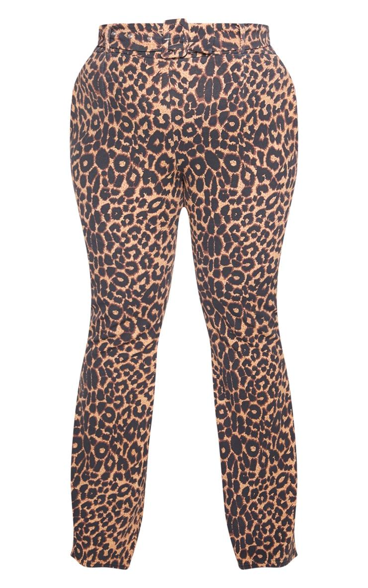 Plus Brown Leopard Print Belt Detail Flared Trouser  3