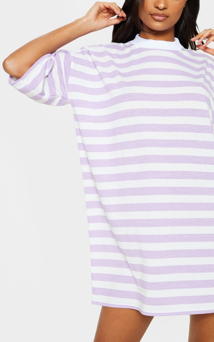 Lilac Stripe Oversized Boyfriend T Shirt Dress 5