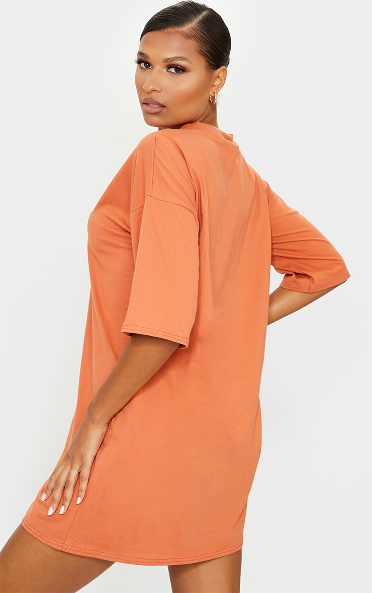 Rust Split Oversized Boyfriend T Shirt Dress 2