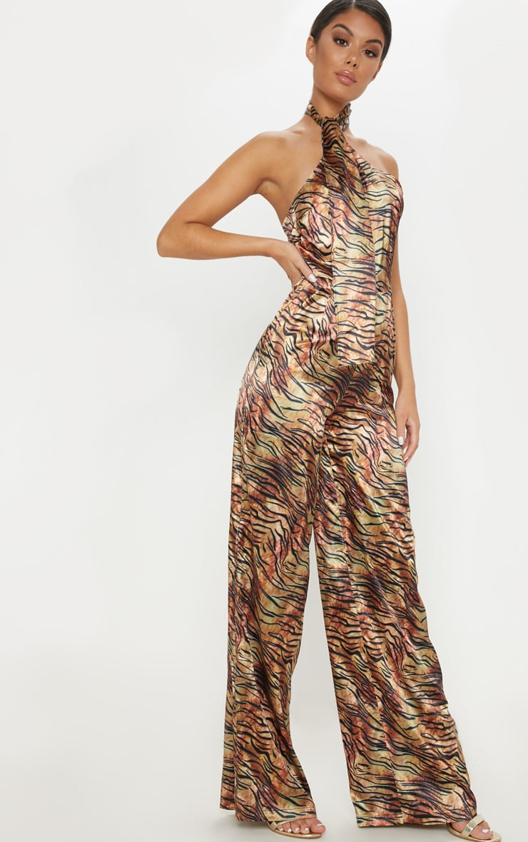 Tan Tiger Print Wrap Neck Jumpsuit 4