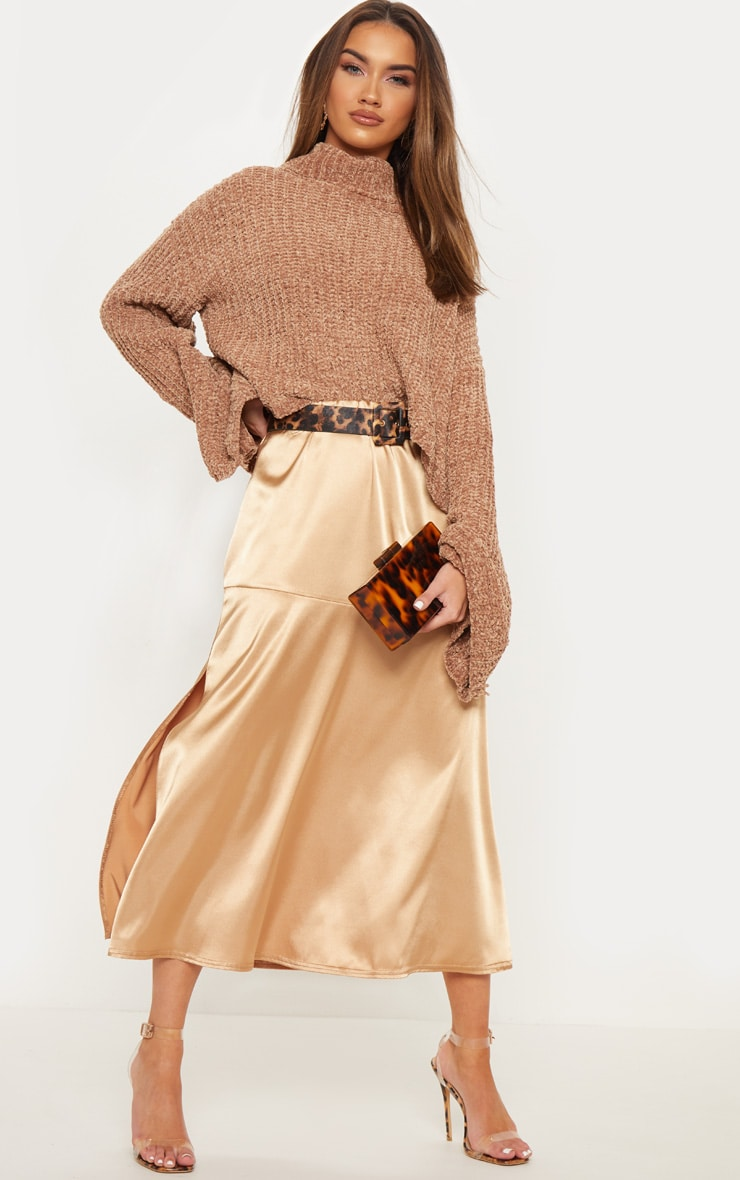 Champagne Satin Asymmetric Panel Floaty Midi Skirt 1