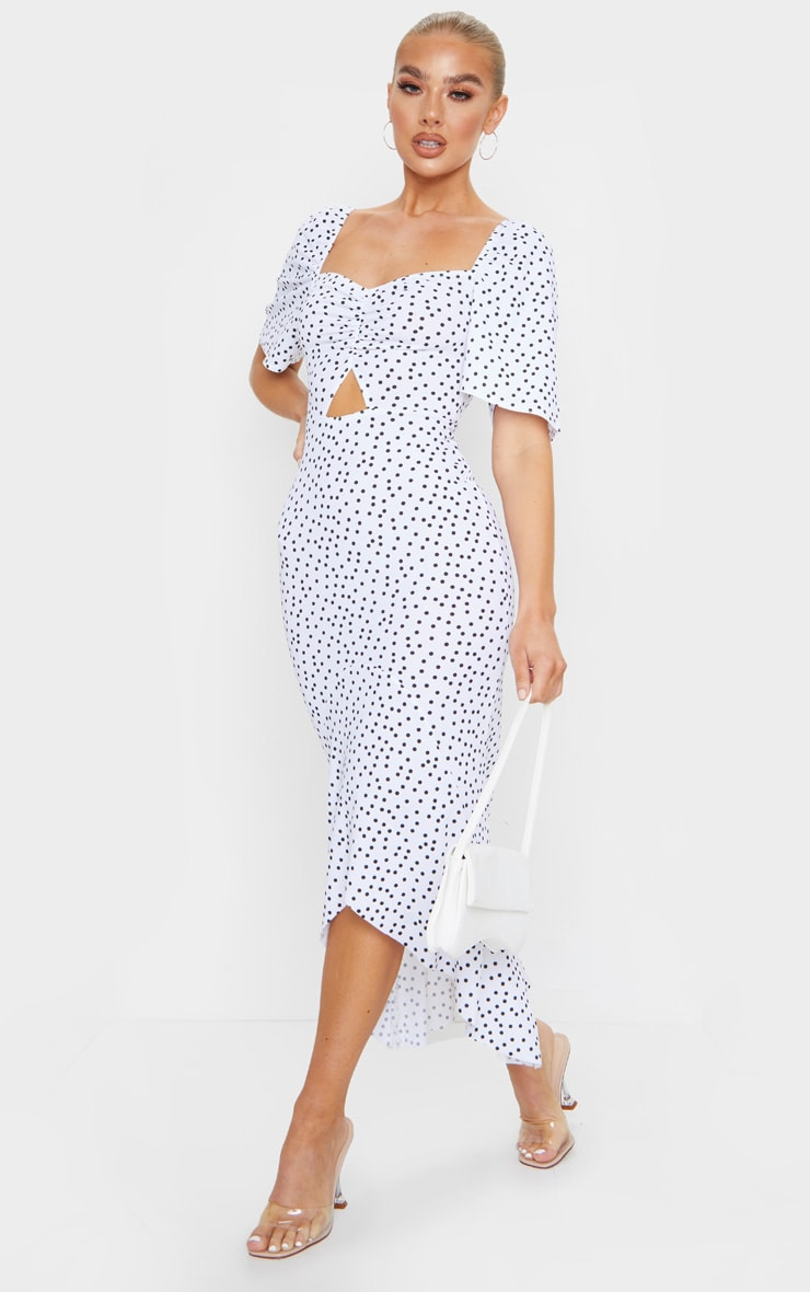 White Polka Dot Ruched Bust Short Sleeve Midi Dress 3