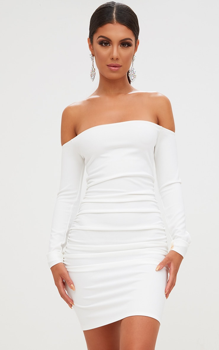 White Long Sleeve Ruched Bardot Bodycon Dress