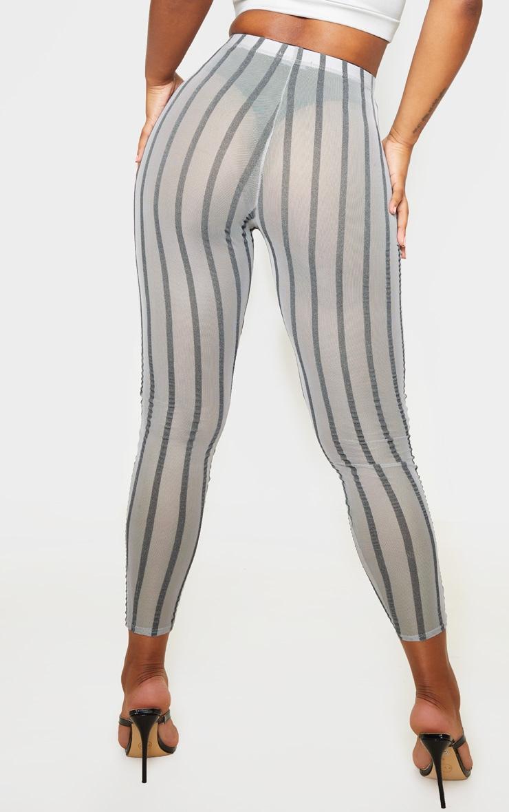 Grey Mesh Stripe Legging 4