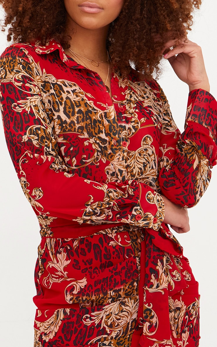 Red Baroque Print Ruched Front Shirt Dress 5