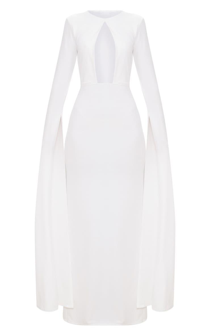 White Cut Out Detail Drape Sleeve Maxi Dress 3