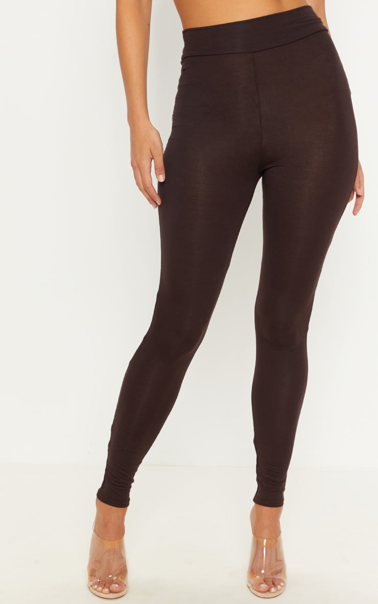 Basic Chocolate High Waisted Jersey Leggings 2