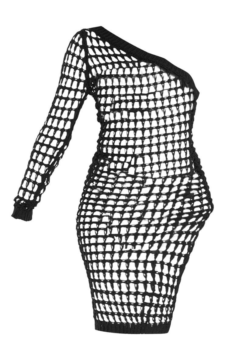 Robe asymétrique noire en crochet superposé 3