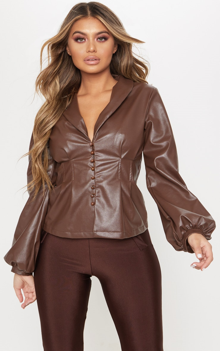 Chocolate PU Button Shirt