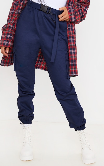Navy Utility Buckle Belt Joggers