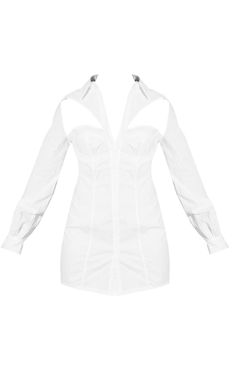 White Woven Cup Binding Detail Long Sleeve Shirt Dress 5