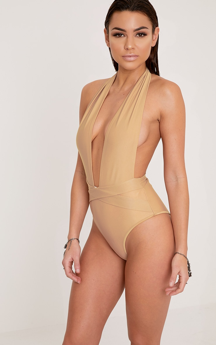 Bethanne Camel Wrap Around Front Swimsuit 1
