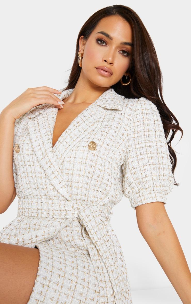 White Glitter Boucle Puff Sleeve Blazer Dress 4