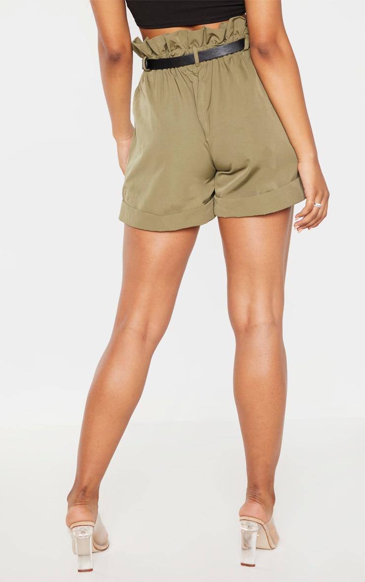 Tall Khaki High Waist Paperbag Belted Shorts 4