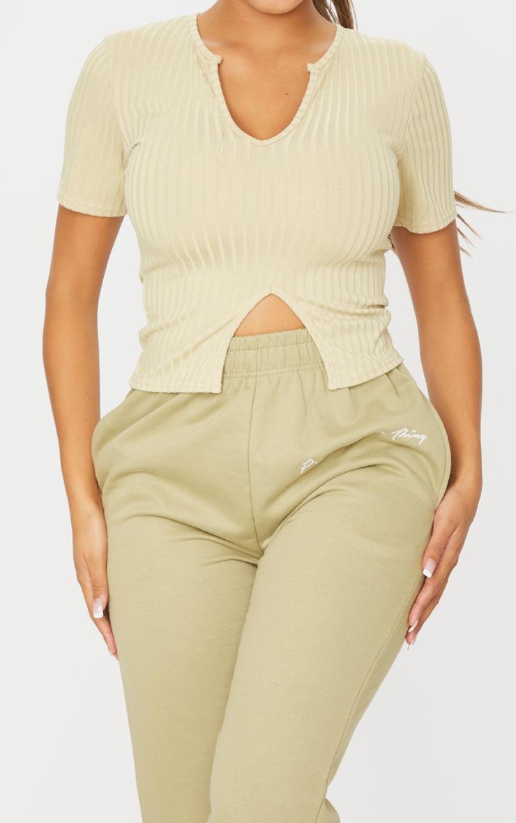 Shape Sage Khaki Rib Short Sleeve Split Detail Top 4
