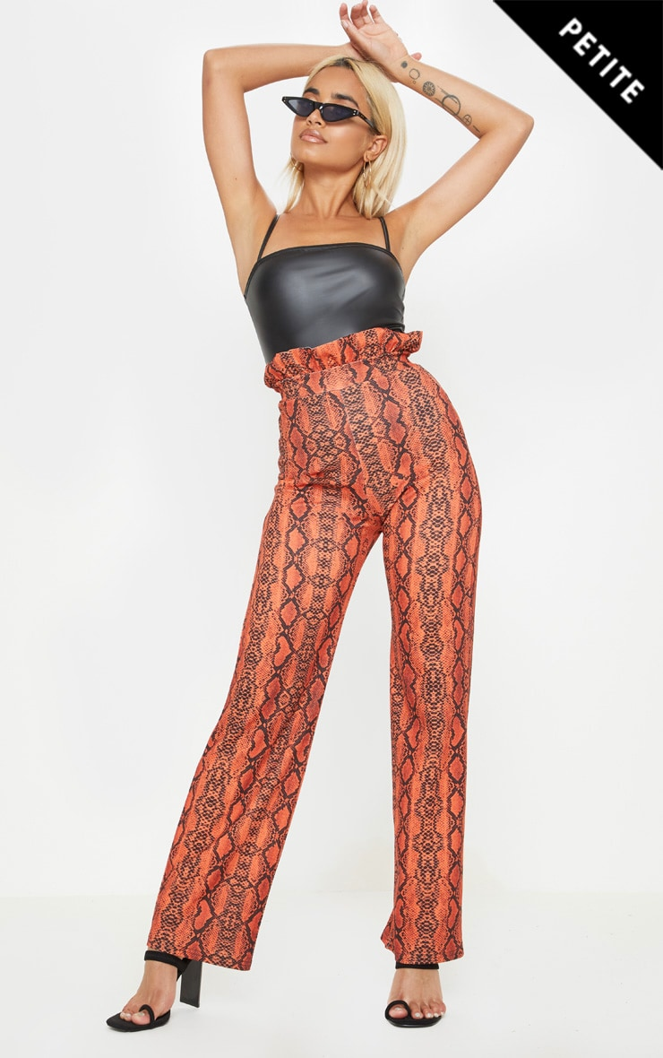 Petite Neon Orange Snake Print Frill High Waist Trousers 1