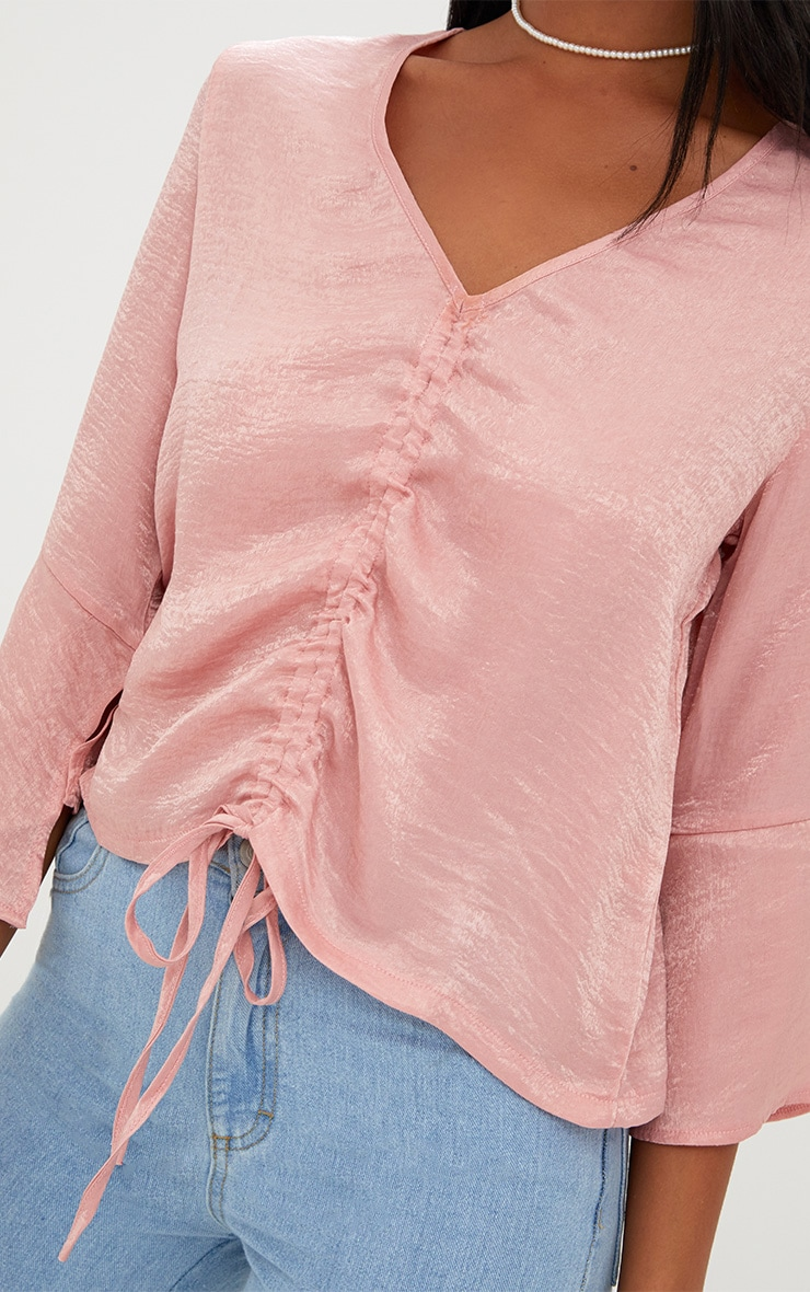 Pink Ruched Front Frill Sleeve Satin Top  5