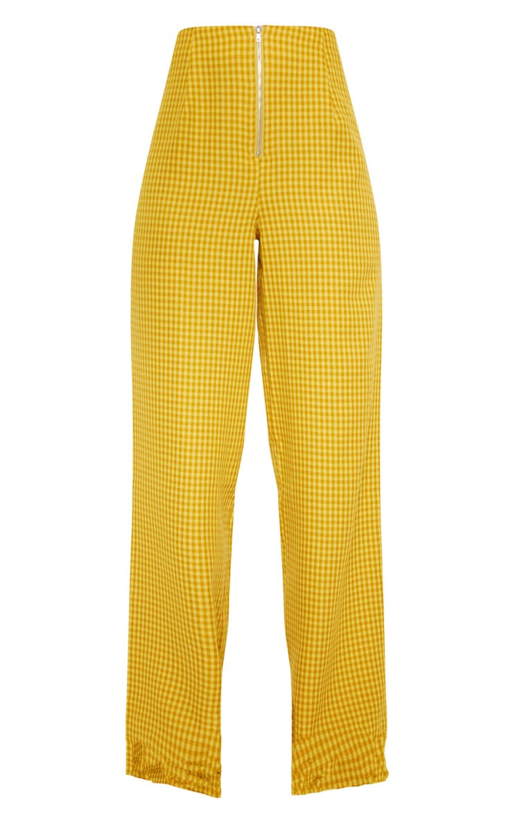 Yellow Check Wide Leg Pants 3