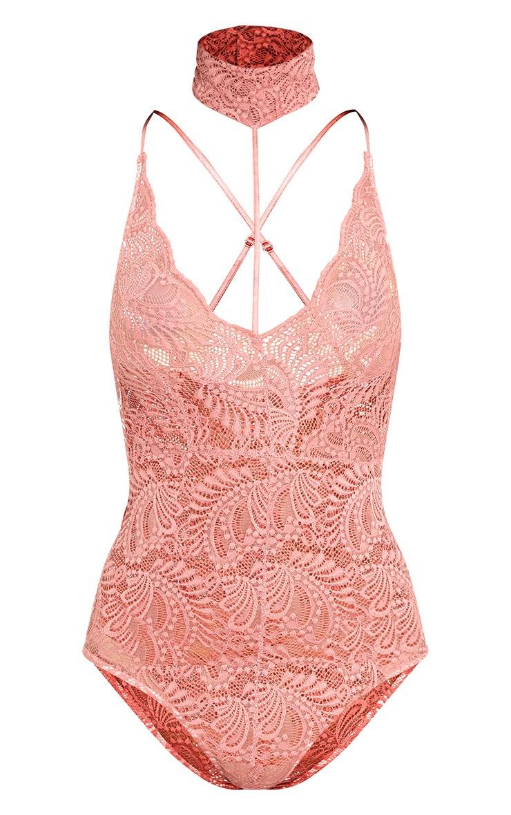 Lucille Rose Sheer Lace Choker Thong Bodysuit  3