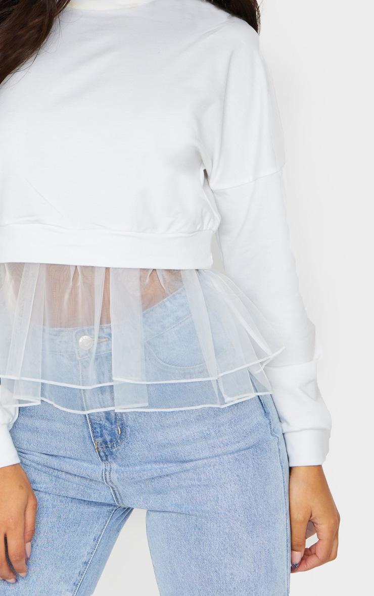 White Organza Hem Sweater 4