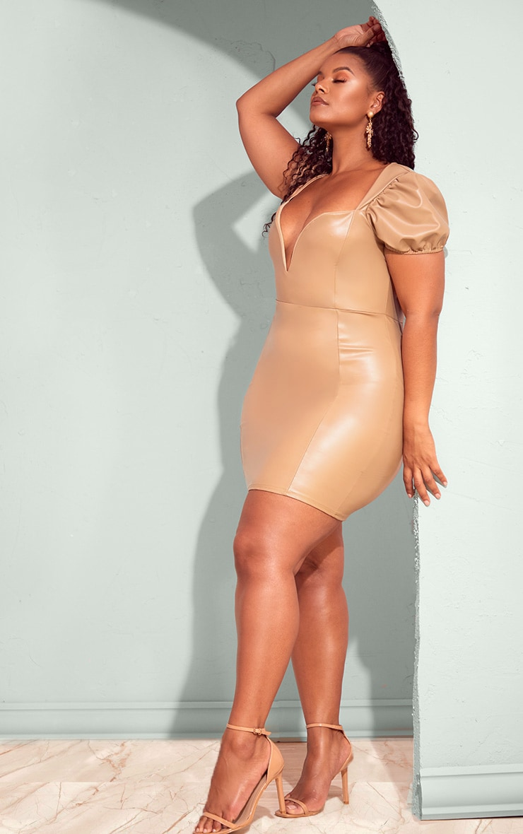 Plus Taupe PU Puff Sleeve Bodycon Dress 3