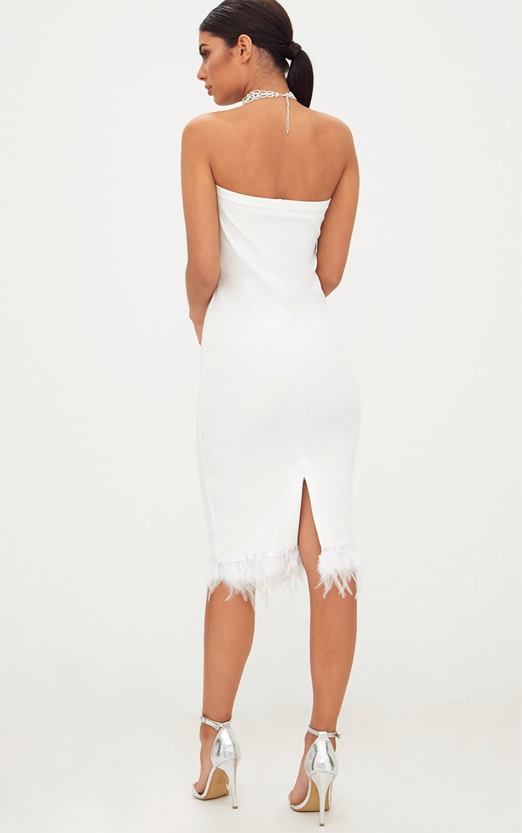 White Bandeau Feather Hem Midi Dress 2