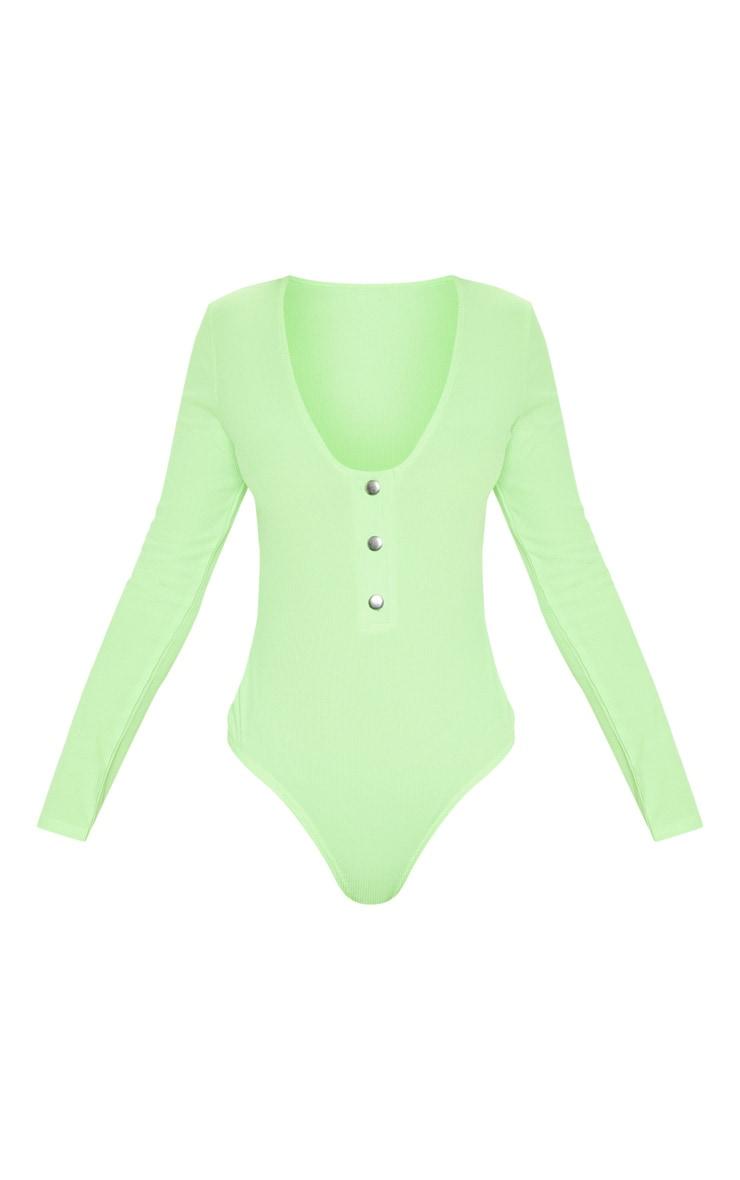 Lime Neon Popper Scoop Neck Long Sleeve Bodysuit 3