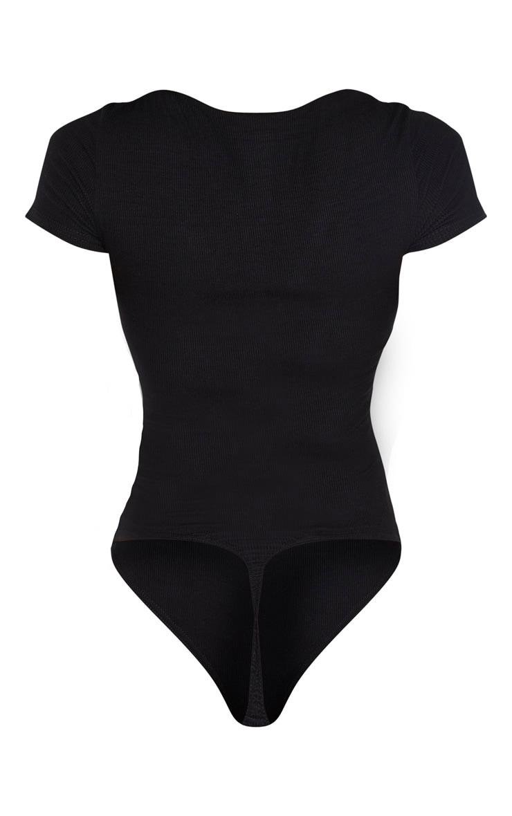 Tall Black Short Sleeve Popper Detail Thong Bodysuit 6