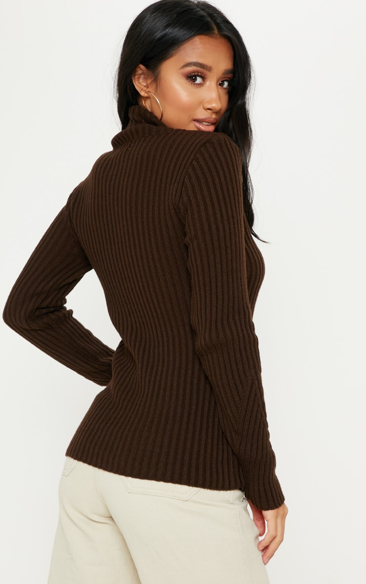 Petite Chocolate Brown High Neck Sweater 2