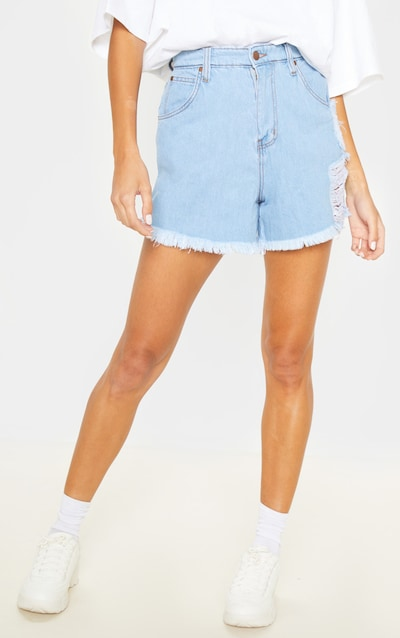 Tall Light Wash Frayed Hem Distressed Denim Shorts