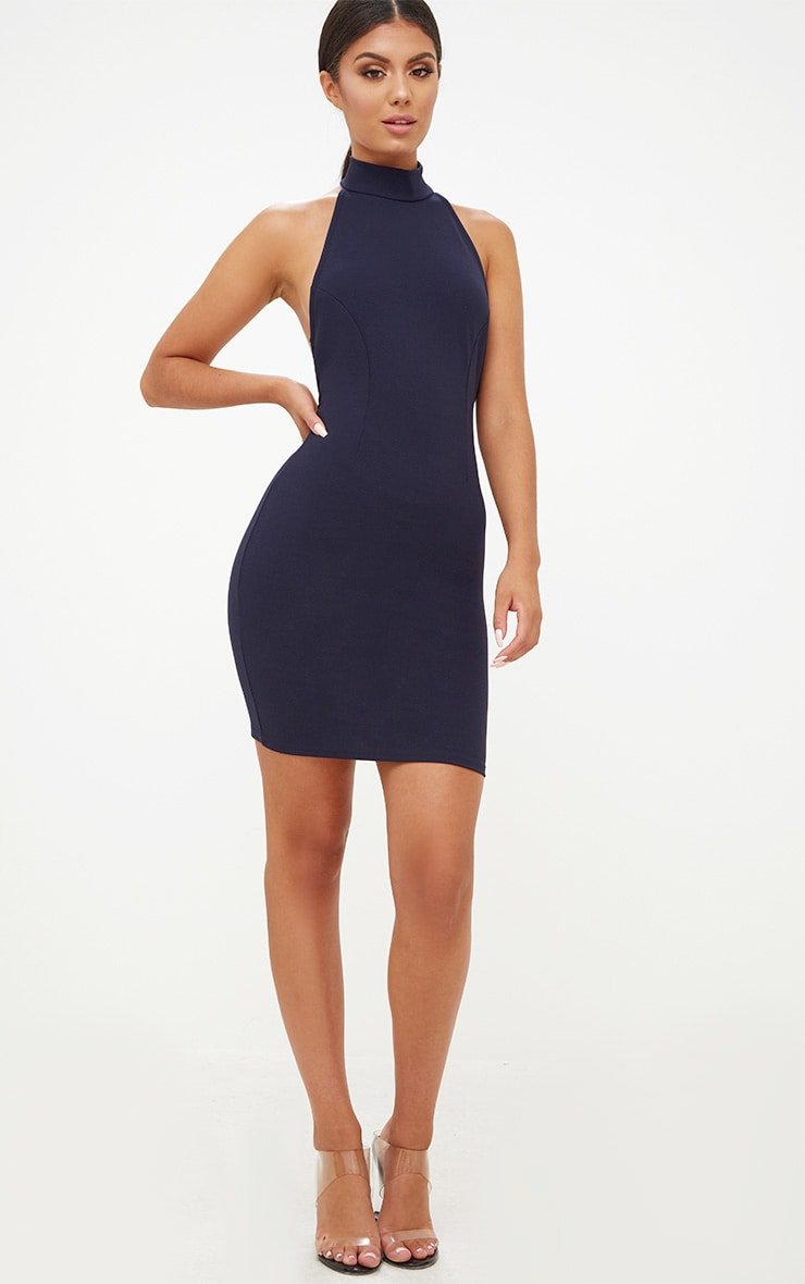 Navy High Neck Low Back Bodycon Dress 4