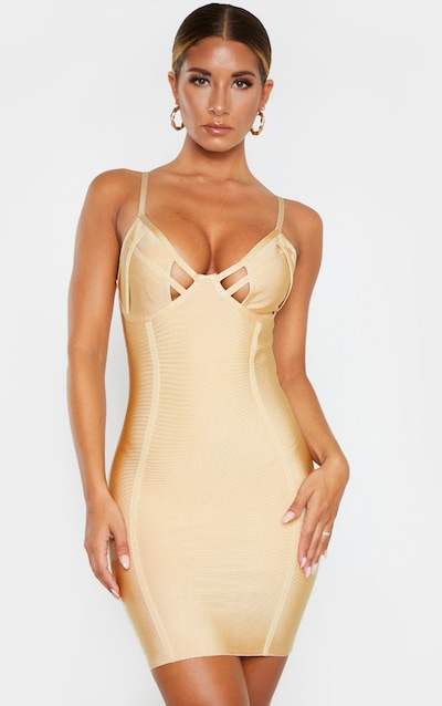Nude Strappy Cut Out Cup Detail Bandage Bodycon Dress