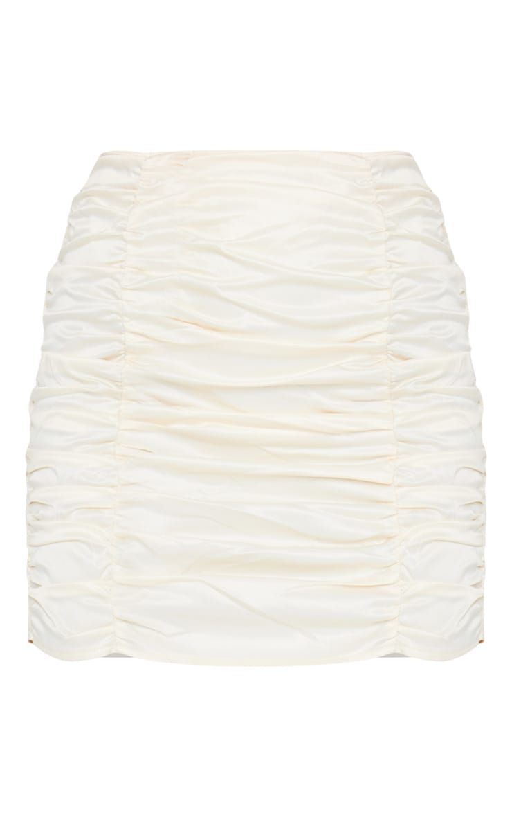 Cream Ruched Panel Mini Skirt 7