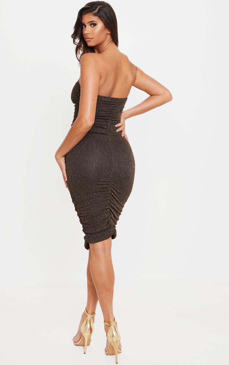 Gold Glitter Stripe Ruched Bandeau Bodycon Dress 2