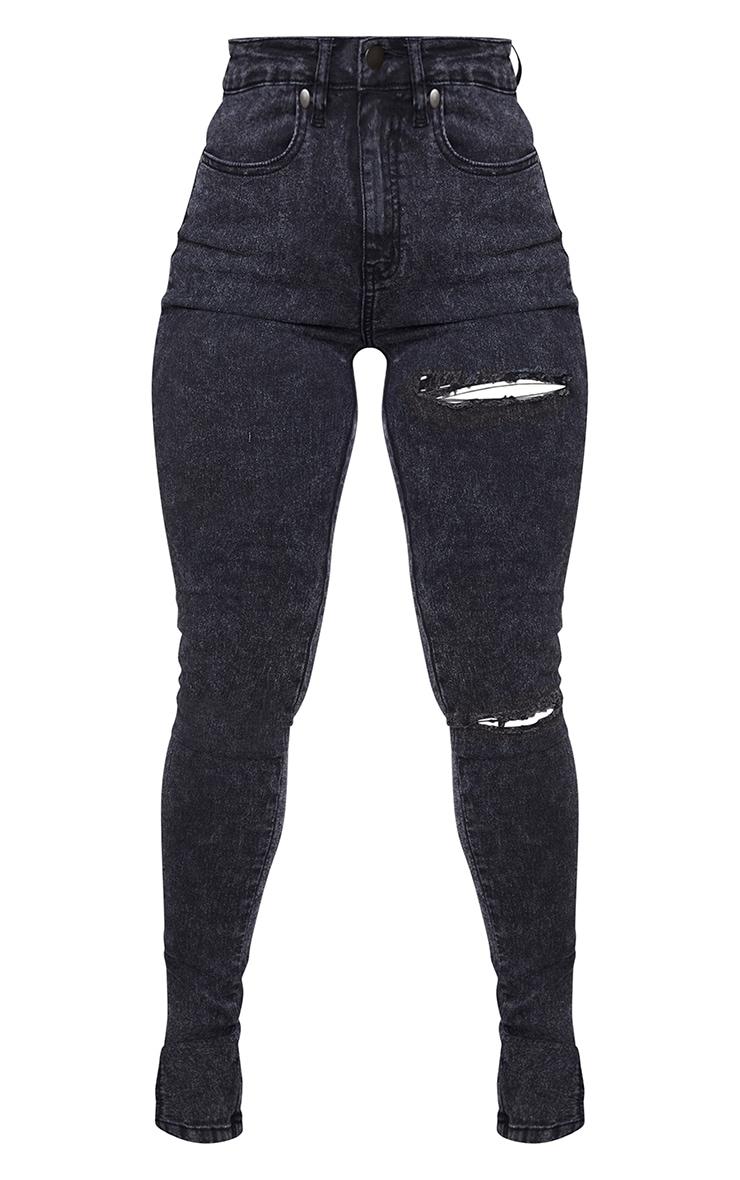 Shape Black Acid Wash Ripped Stretch Split Hem Skinny Jeans 5