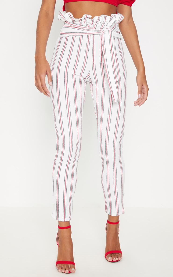 Red Stripe Paperbag Waist Skinny Trouser 2