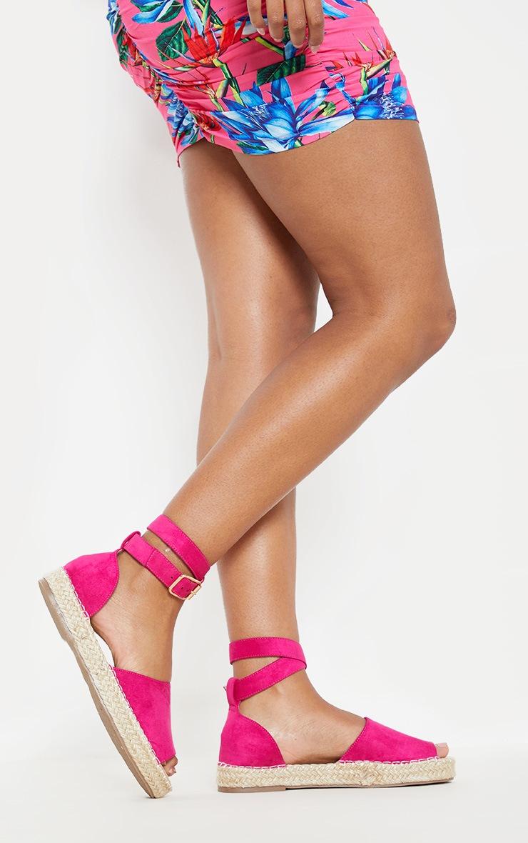 Fuchsia Peep Toe Espadrille Flat Sandal 2