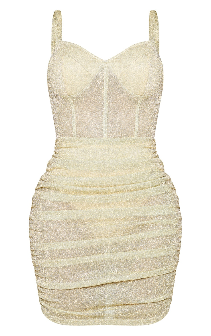 Shape Champagne Glitter Mesh Cup Detail Binding Bodycon Dress 5
