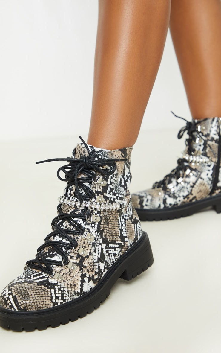 Snake Diamante Detail Hiker Ankle Boots 1
