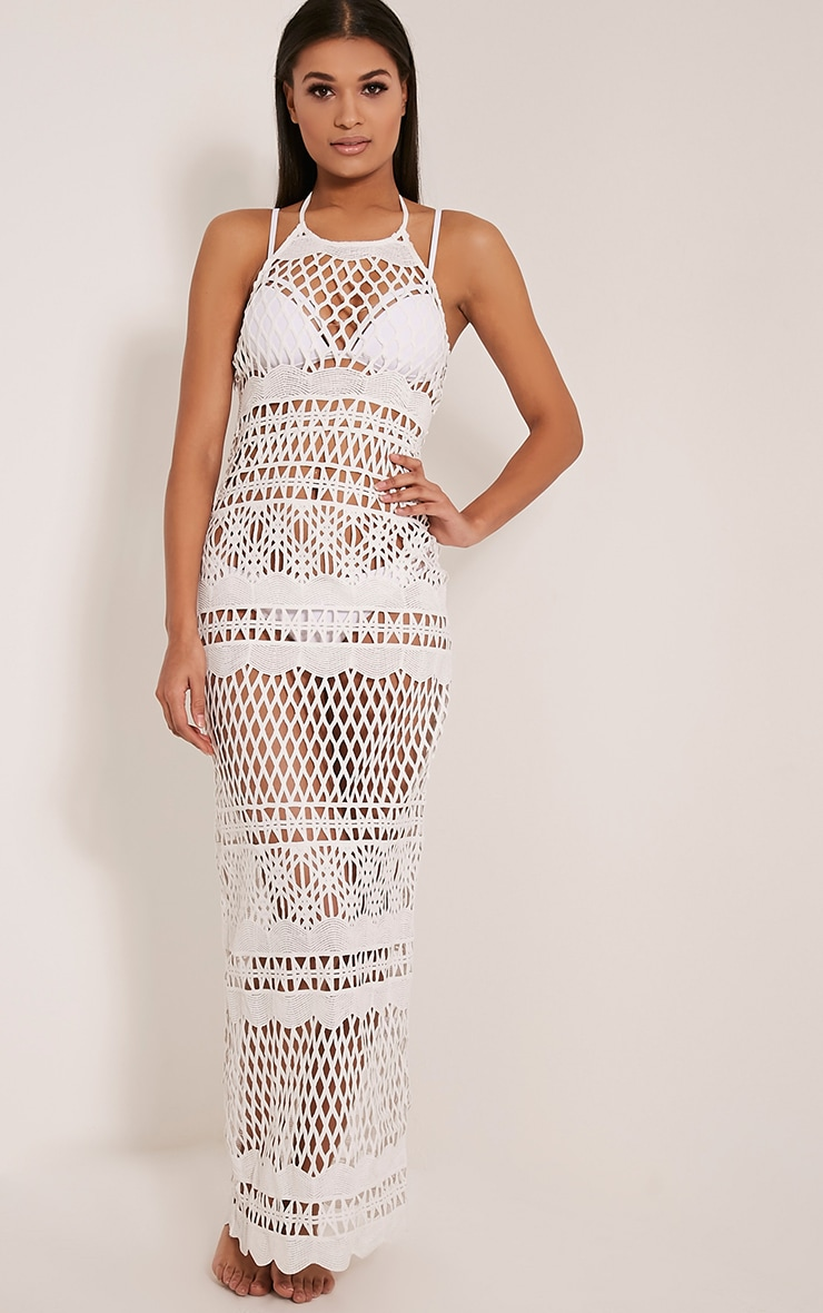Alaya White Crochet Maxi Dress 4
