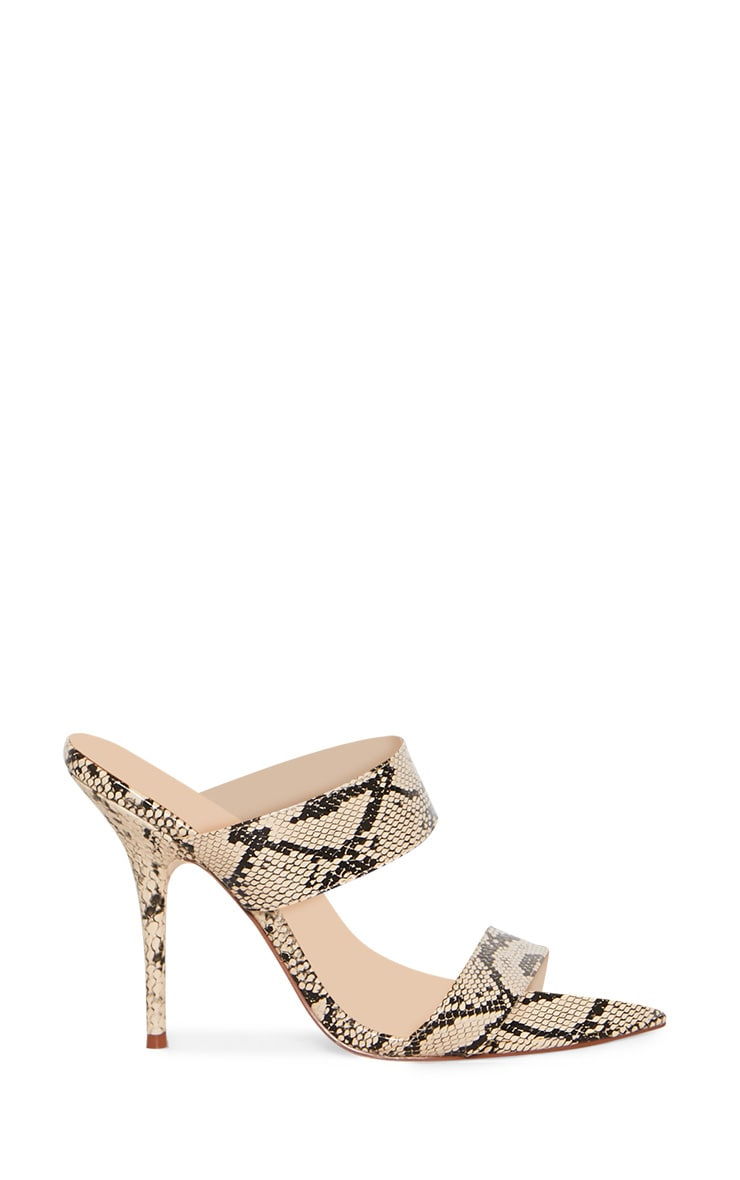 Beige Snake Extreme Point Twin Strap Mule Sandal 3