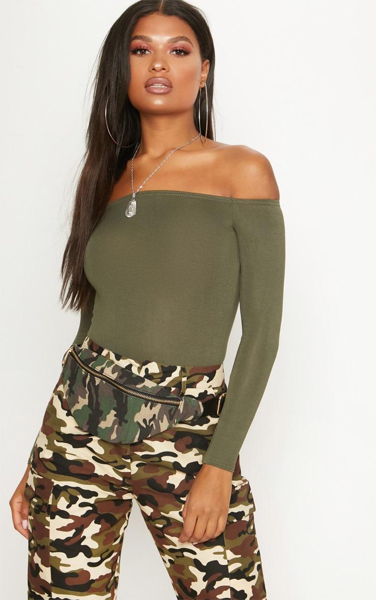Khaki Bardot Bodysuit 1