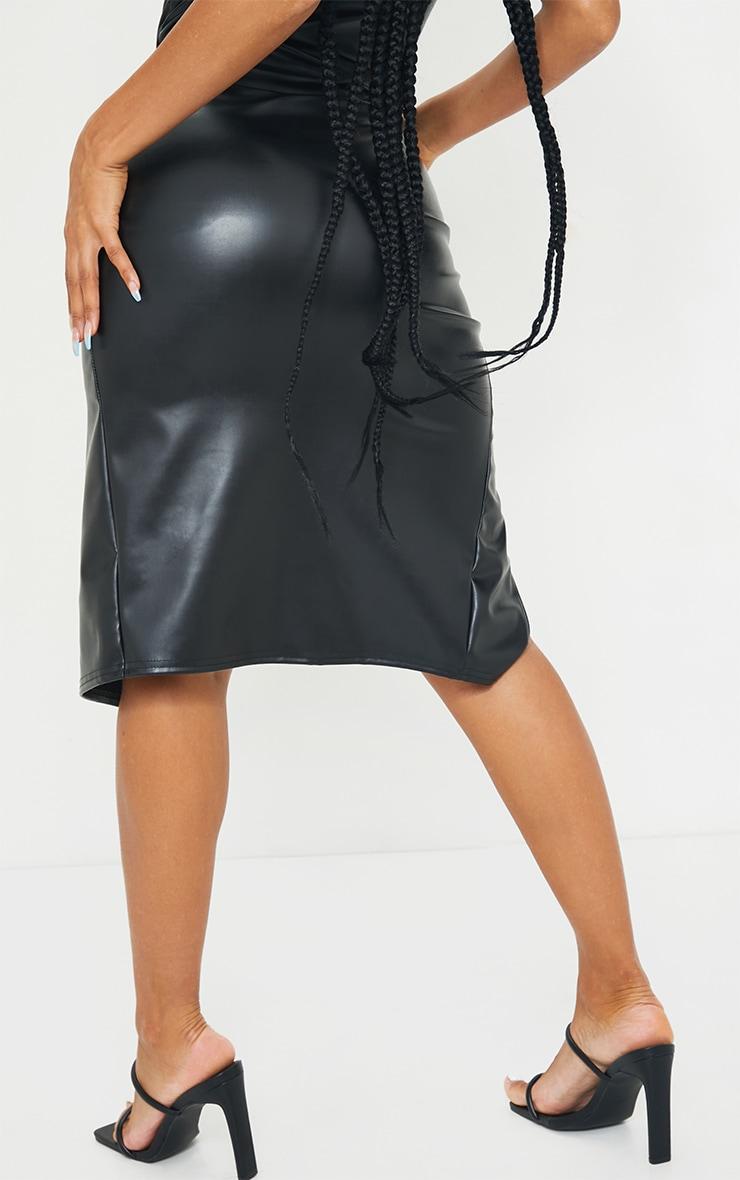 Black PU Ruched Split Leg Midi Skirt 3