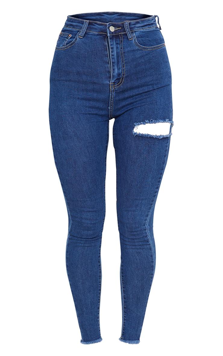Mid Blue Wash Thigh Rip Raw Hem 5 Pocket Skinny Jean 5