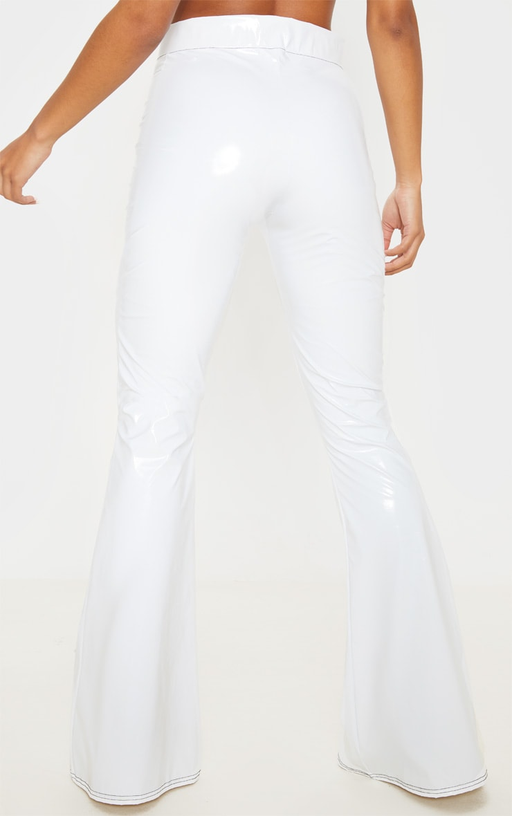 White Vinyl Contrast Stitch Popper Front Flared Pants 4