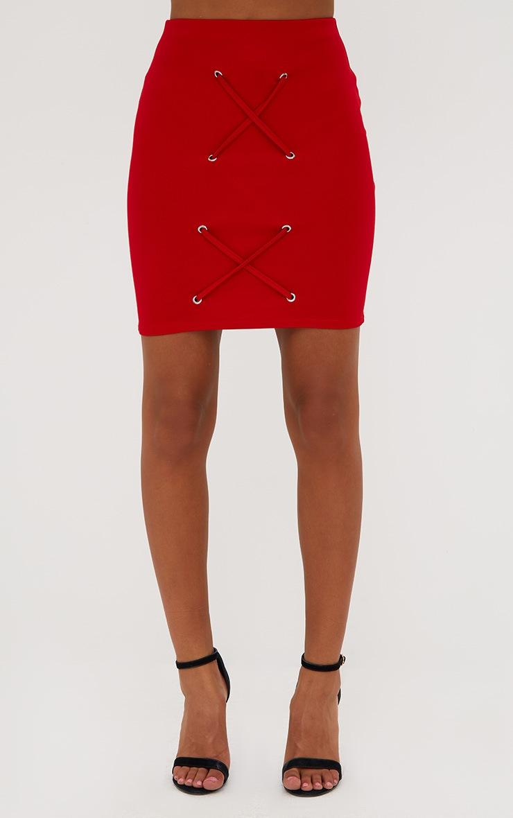 Petite Red Eyelet Criss Cross Mini Skirt 2